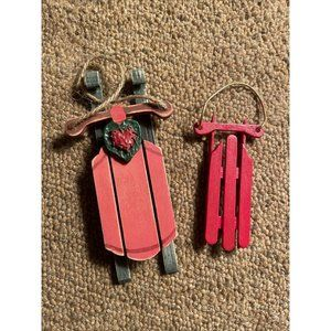 Pair of VintageWooden Christmas Ornaments - Sleds